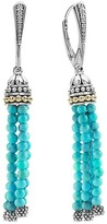 Lagos 18K Gold and Sterling Silver Caviar Turquoise Tassel Earrings