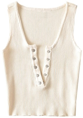 Goodnight Macaroon 'Olivia' Buttoned Ribbed Tank Top (4 Colorss)