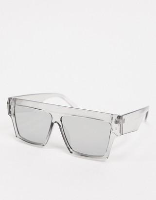 SVNX angular sunglasses in clear grey