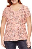 ST. JOHN'S BAY St. John's Bay Short Sleeve V Neck T-Shirt-Plus
