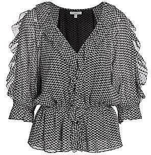 Joie Women's Zaida Ruffled Silk Top