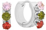 Pink Simulated Diamond & Stainless Steel Huggie Earrings