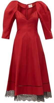 KHAITE Dina Puff-sleeve Cotton Midi Dress - Womens - Dark Red