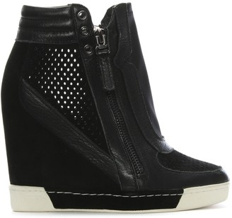 Daniel Perfo Black Suede & Leather Concealed Wedge Trainers