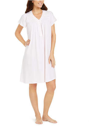 Miss Elaine Silky Knit Embroidered Nightgown