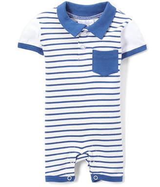 Sweet & Soft Boys' Rompers White - White & Navy Stripe Romper - Infant