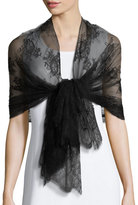 Valentino Exotic Garland Silk Evening Scarf, Black