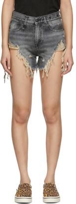 R 13 Black Denim Shredded Slouch Shorts