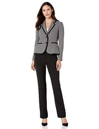 Le Suit Women's Plaid Basket Weave 2 Button Notch Collar Pant Suit