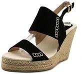 Qupid Knox Women Open Toe Suede Black Wedge Sandal.