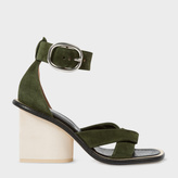 Paul Smith Women's Khaki Suede 'Delta' Heeled Sandals