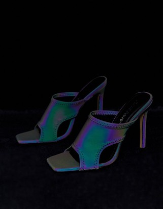 Public Desire Ultraviolet reflective square toe mules-Black