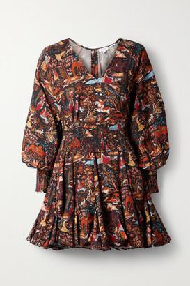 Rhode Resort Olivia Belted Printed Tencel-twill Mini Dress - Black