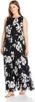 Jessica Howard JessicaHoward Women's Plus Size Pleated Blouson Maxi Dress, Black/Ivory, 14W