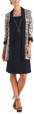 R & M Richards Petite Necklace Dress & Puff-Print Jacket