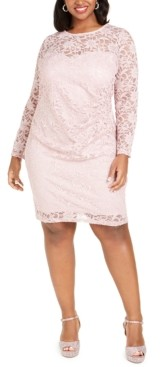 BCX Trendy Plus Size Glitter Lace Illusion Dress