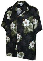 Pacific Legend Men's Hibiscus & Palm Hawaiian Shirt (3X, Black)
