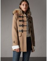 Burberry Detachable Fur Trim Wool Duffle Coat