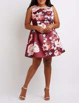Charlotte Russe Plus Size Floral Pleated Skater Dress