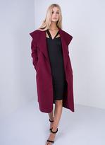 Missy Empire Shay Wine Waterfall Drape Coat