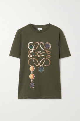 Loewe Metallic Printed Cotton-jersey T-shirt - Green