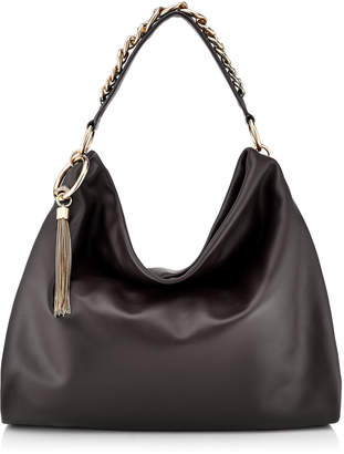 Jimmy Choo CALLIE/L Black Calf Leather Slouchy Shoulder Bag with Gold Chain Strap