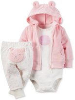 Carter's Baby Girls' 3-Pc. Hoodie, Bodysuit & Pants Set