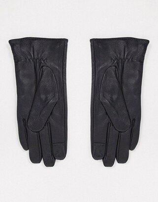 Barneys New York real leather gloves with stud detail in black