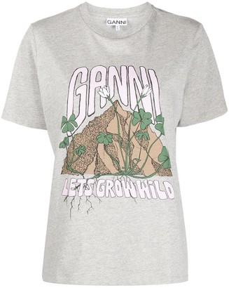 Ganni slogan print T-shirt