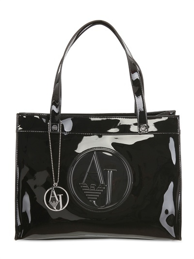 Armani Jeans Embossed Logo Patent Tote
