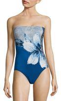 Carmen Marc Valvo Gilded Garden Bandeau One-Piece Swimsuit