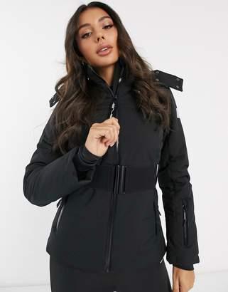 Asos 4505 4505 ski belted jacket with fur hood-Black