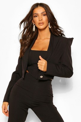 boohoo Tailored Power Shoulder Military Crop Blazer