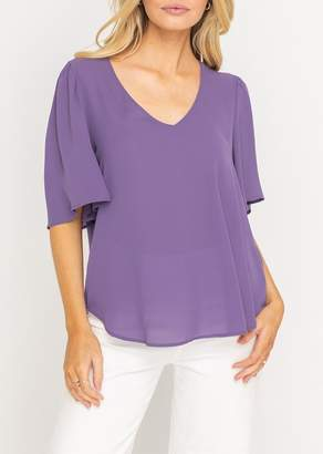 Lush Flutter Sleeve Solid Tunic