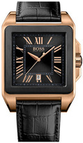 HUGO BOSS Square Case Leather Strap Watch, 40mm