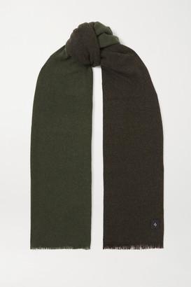 Rag & Bone Riley Fringed Two-tone Cashmere And Wool-blend Scarf - Dark green