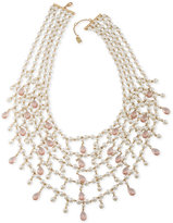 Lauren Ralph Lauren Gold-Tone Imitation Pearl and Stone Statement Necklace