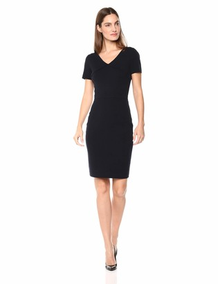 Lark & Ro Amazon Brand Women's Short Sleeve V-Neck Sheath Sweater Dress