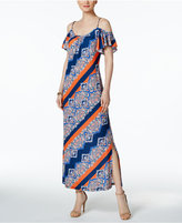 MSK Printed Cold-Shoulder Maxi Dress