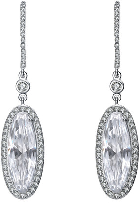 Genevive Silver Cz Oval Drop Earrings
