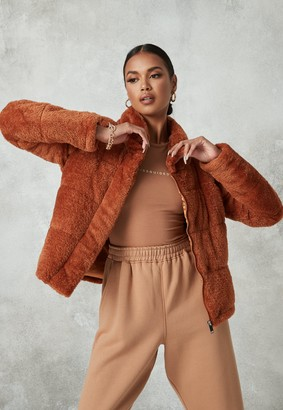 Missguided Tan Padded Faux Fur Jacket