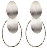 Rivka Friedman White Rhodium Clad Concave Disc Cascading Dangle Earrings