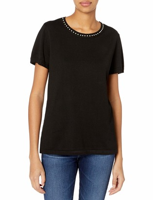Karl Lagerfeld Paris Women's Short Sleeve Top with Pearl Neck Detail