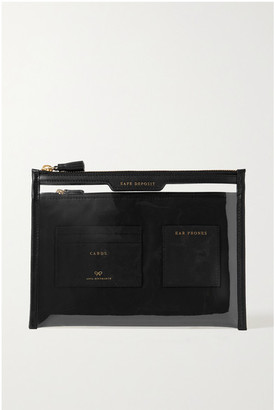 Anya Hindmarch Safe Deposit Leather-trimmed Pvc Pouch - Black