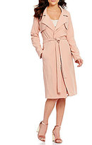 J.o.a. Long Belted Open-Front Trench Coat