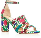 Jerome C. Rousseau Abelline Floral Embroidered Block Heel Sandals