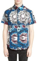 Versace Men's Mixed Print Sport Shirt