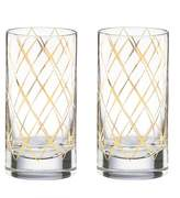 Kate Spade Gold Trellis Highball Glasses - Set of 2