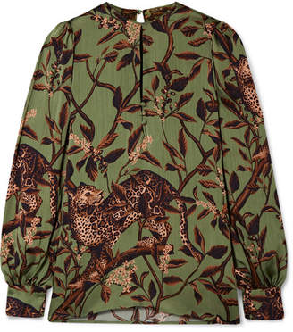 Johanna Ortiz Gifts Of Nature Printed Crepon Blouse - Green