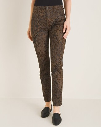 Chico's Coated Animal-Print Faux-Leather Jeggings